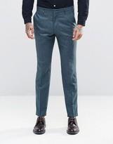 Asos Slim Suit Pants In Blue Silk Blend