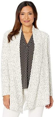 Vince Camuto Long Sleeve Drape Front White Boucle Snit Cardigan (Pearl Ivory) Women's Sweater