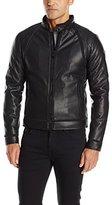 GUESS Men's Perforated Biker Jacket