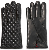 Valentino Studded Quilted Smooth And Glossed Textured-leather Gloves - Black