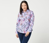 Denim & Co. Stretch Woven Point Collar Printed Button Front Shirt