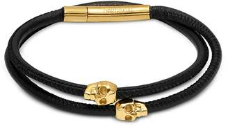 Northskull Skull Wrap Around Bracelet Black Leather & Yellow Gold