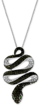 "Effy Diamond (1-3/4 ct. t.w.) & Emerald Accent Snake 18"" Pendant Necklace in 14k White Gold"