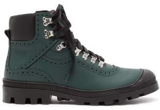 Loewe Leather Brogue Boots - Mens - Dark Green