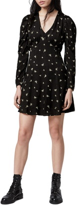 AllSaints Rosi Embroidered Floral Long Sleeve Minidress