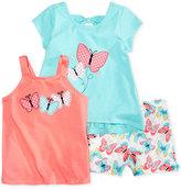 Nannette 3-Pc. Butterfly Tank Top, T-Shirt & Shorts Set, Toddler & Little Girls (2T-6X)