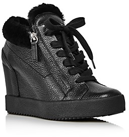 Giuseppe Zanotti Women's Shearling-Lined Wedge Heel Sneakers