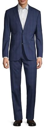 Saks Fifth Avenue Trim-Fit Plaid Wool Suit