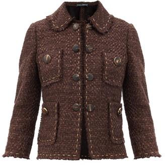 Dolce & Gabbana Topstitched Tweed Jacket - Brown Multi