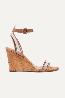 Aquazzura Minimalist 85 Leather And Pvc Wedge Sandals - Beige