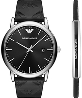 Emporio Armani AR80012 Men's Date Leather Strap Watch and Bracelet Gift Set, Black