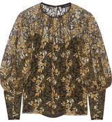 Wes Gordon Embroidered Tulle Blouse - Black
