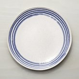 Crate & Barrel Lina Blue Stripe Dinner Plate
