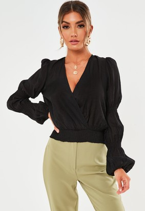 Missguided Black Plunge Shirred Sleeve Top