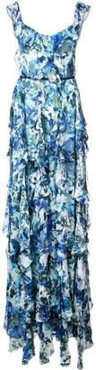 Marchesa Long Sleeveless Ruffle Dress