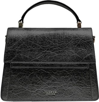 Alkeme Atelier Fire Flap Cross Body - Black Pineapple Leather