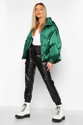 boohoo Zig Zag Panel Satin Puffer Jacket