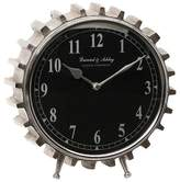 "Aurora 13"" Round Gear Shaped Table Clock Black/Silver"