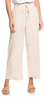 Roxy Redondo Beach Linen Blend Crop Wide Leg Pants