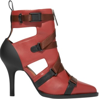 Chloé Tracy Cutout Rubber And Canvas-trimmed Leather Ankle Boots