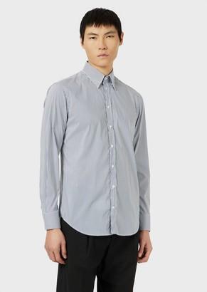 Emporio Armani Striped, Stretch Cotton, Button-Down Shirt