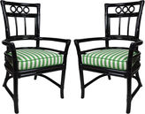 One Kings Lane Vintage Ficks Reed Black Colony Armchairs, Pair