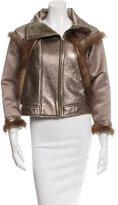 Oscar de la Renta Fur-Trimmed Silk Jacket