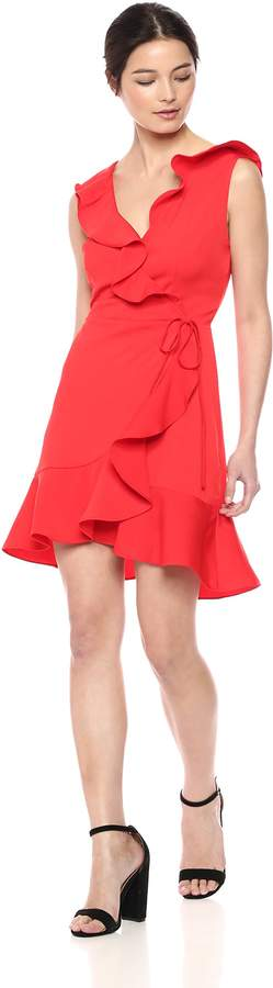 J.o.a. Women's Ruffle Trim WRAP Overlap Short Sleeveless Dress