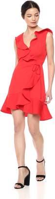 J.o.a. Women's Ruffle Trim WRAP Overlap Short Sleeveless Dress
