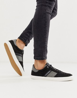 Jack and Jones suede trainers with contrast sole in black