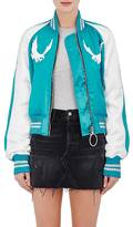 Off-White Off White Women's Embroidered Satin Bomber Jacket-BLUE