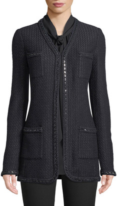 St. John Adina Knit 4-Pocket Blazer Jacket with Chain Braid Trim