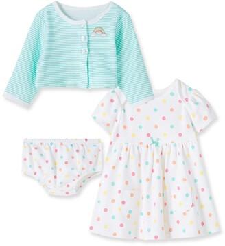Little Me Polka Dot 3-Piece Dress & Cardigan Set