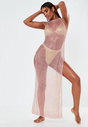 Missguided Rose Gold Metallic Split Side Maxi Dress