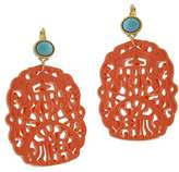 Kenneth Jay Lane Carved Resin Drop French Hook Earrings