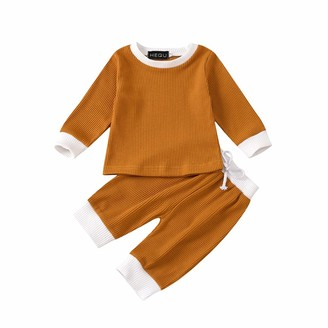 Herqw61 2pcs Infant Baby Girl Boy Outfits Long Sleeve Knitted Set Cute Long Pants(110 Brown-Stripe)
