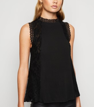 New Look High Neck Crochet Trim Lace Top