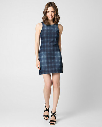 Le Château Check Print Stretch Denim Shift Dress
