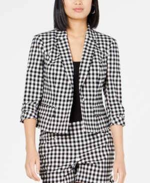 INC International Concepts Inc Petite 3/4-Sleeve Gingham Blazer, Created for Macy's