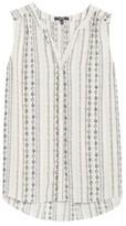 NYDJ Women's Print Pleat Back Sleeveless Split Neck Blouse