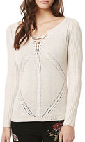 Buffalo David Bitton Cable Lace-Up Sweater