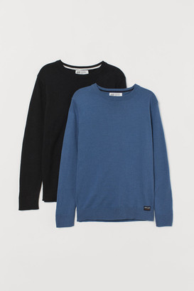 H&M 2-pack Fine-knit Sweaters - Black