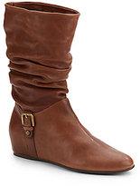 Stuart Weitzman Rugiero Scrunched Leather Boots/Goldtone