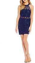 Xtraordinary Sequined Lace High Neck Illusion Sheath Dress