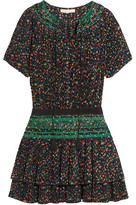 Vanessa Bruno Flory Smocked Floral-Print Plissé-Crepe Mini Dress