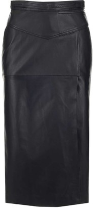 RED Valentino Buckle Detail Leather Pencil Skirt