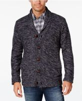 Weatherproof Vintage Men's Big and Tall Marled Lined Shawl Collar Cardigan, Classic Fit