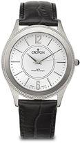 Croton Mens Croc-Look Black Leather Strap Watch
