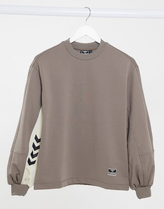 Hummel logo sweatshirt with balloon sleeves in brown