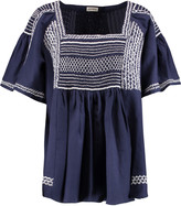 Suno Embroidered shirred cotton-blend poplin top